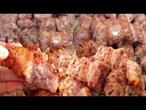 How to make Laos sour pork sausages some moo Lao food  ສົ່ມຫມູ
