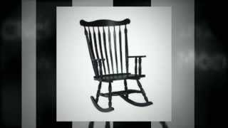Antique Black Wooden Rocking Chair