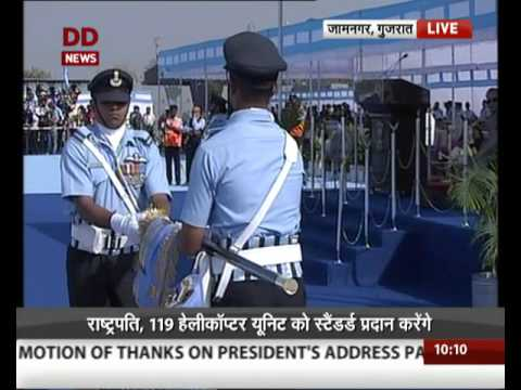 President presents Standard to 119 Helicopter Unit