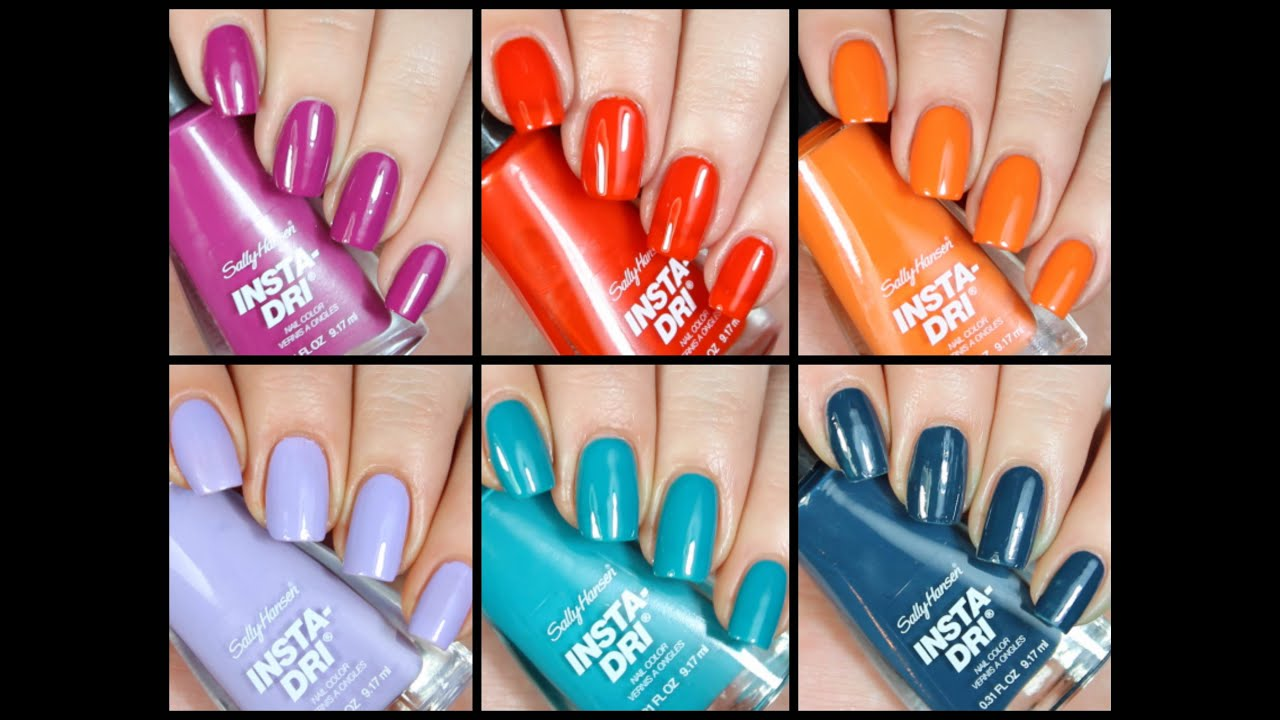 New Sally Hansen Insta Dri Polishes Live Swatch + Review!! - YouTube