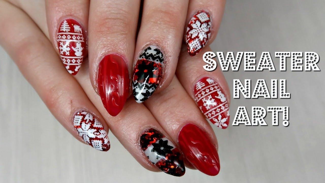 5 Ways To Do Christmas Sweater Nail Art Day 3 Youtube