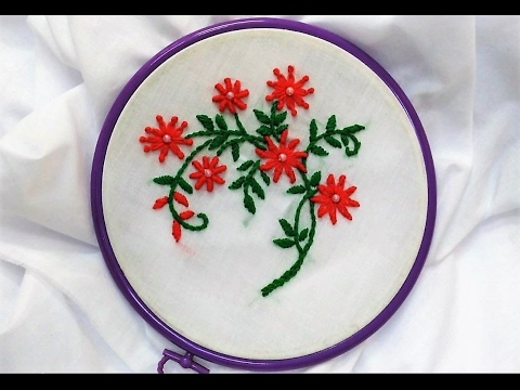Hand Embroidery Cute Flowers With Lazy Daisy Knot And Bullion Knot
