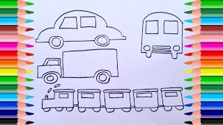 Learn Colors for Children   Learn Color with The Means of Transportation   Drawing for kids Learning