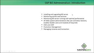 SAP BO Administration - Introduction