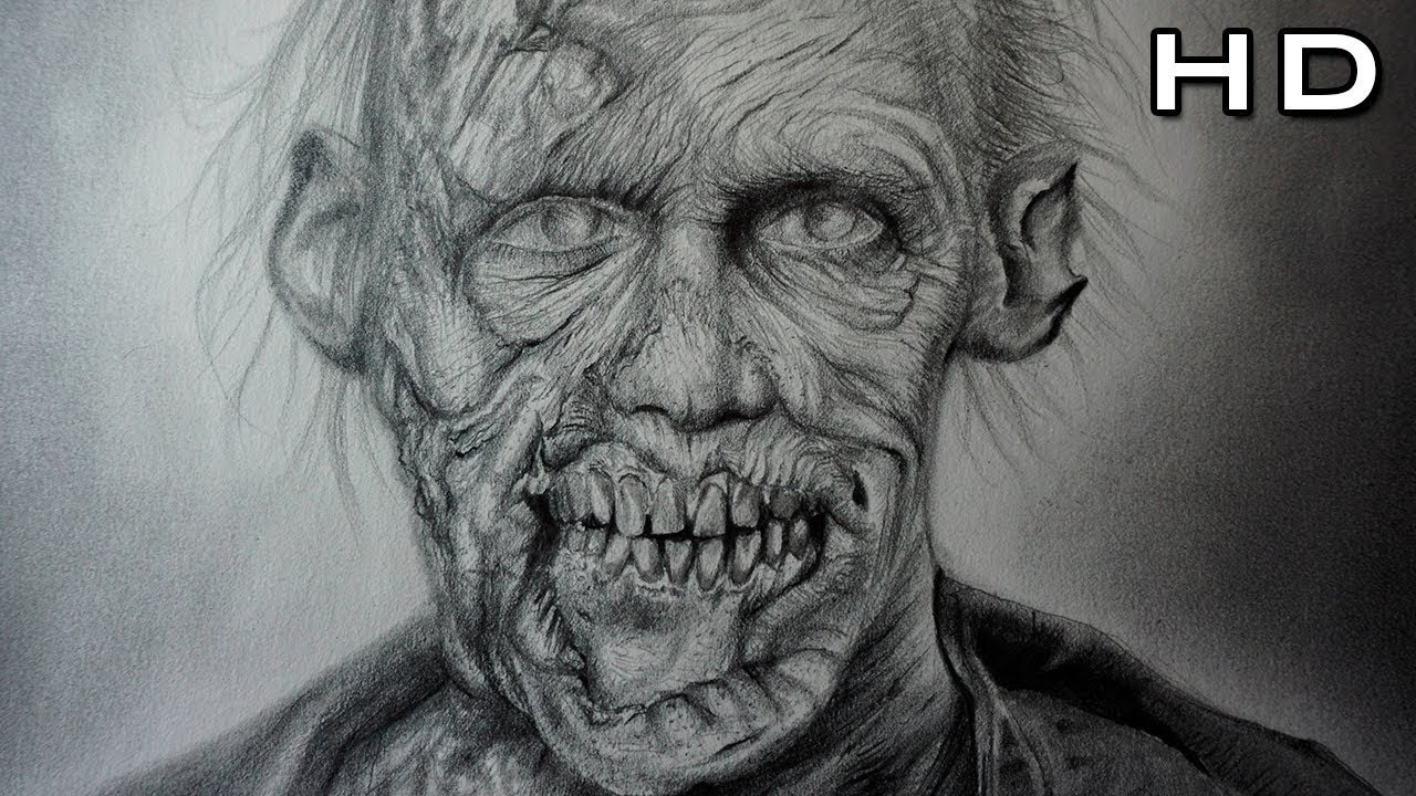 Drawing the walking dead realistic zombie with pencil