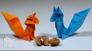 Оригами #белка из бумаги