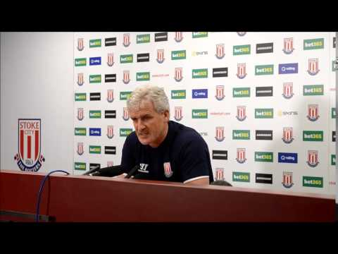 Stoke Manager Mark Hughes at the West Ham Press conference