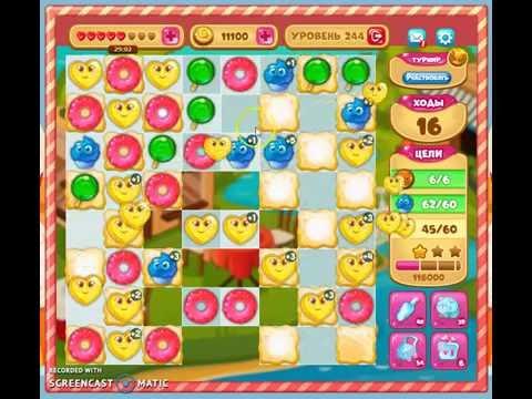 Как пройти 244 уровень в игре долина сладостей