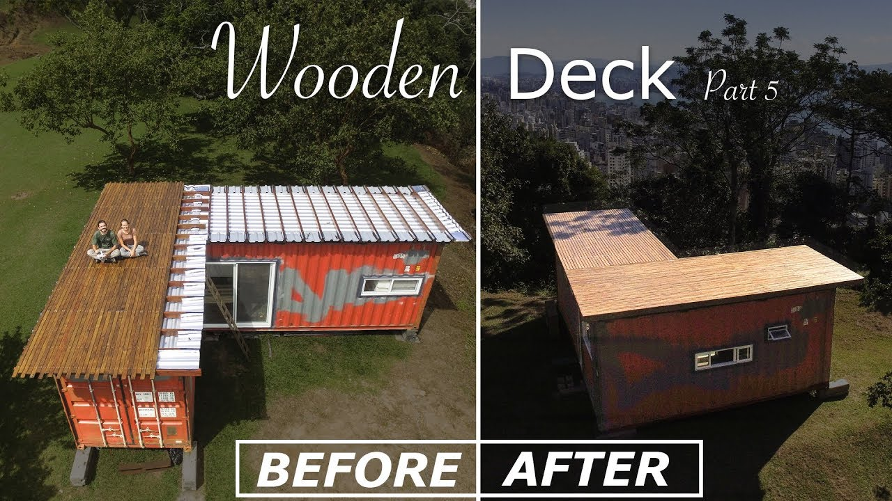 DIY Shipping Container House Deck - Living Tiny Project Ep ...