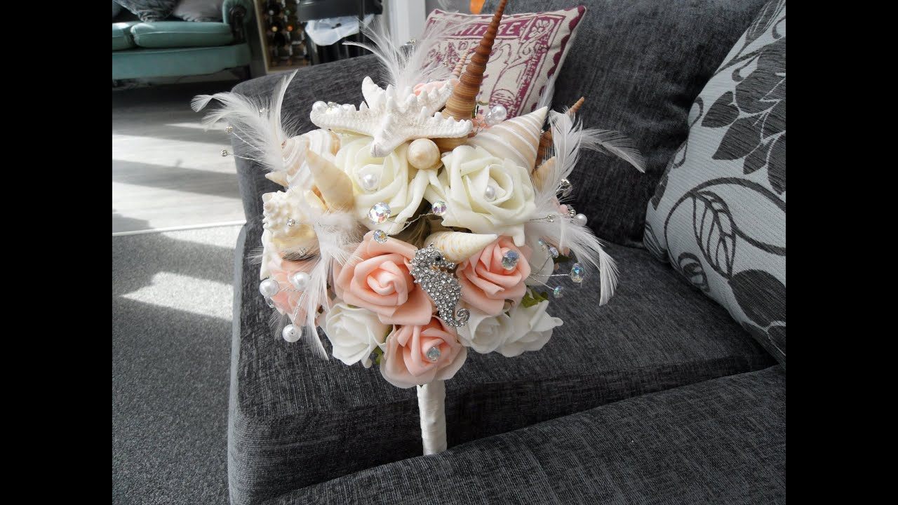 Seashell And Jewel Wedding Bouquet And Buttonholes Youtube