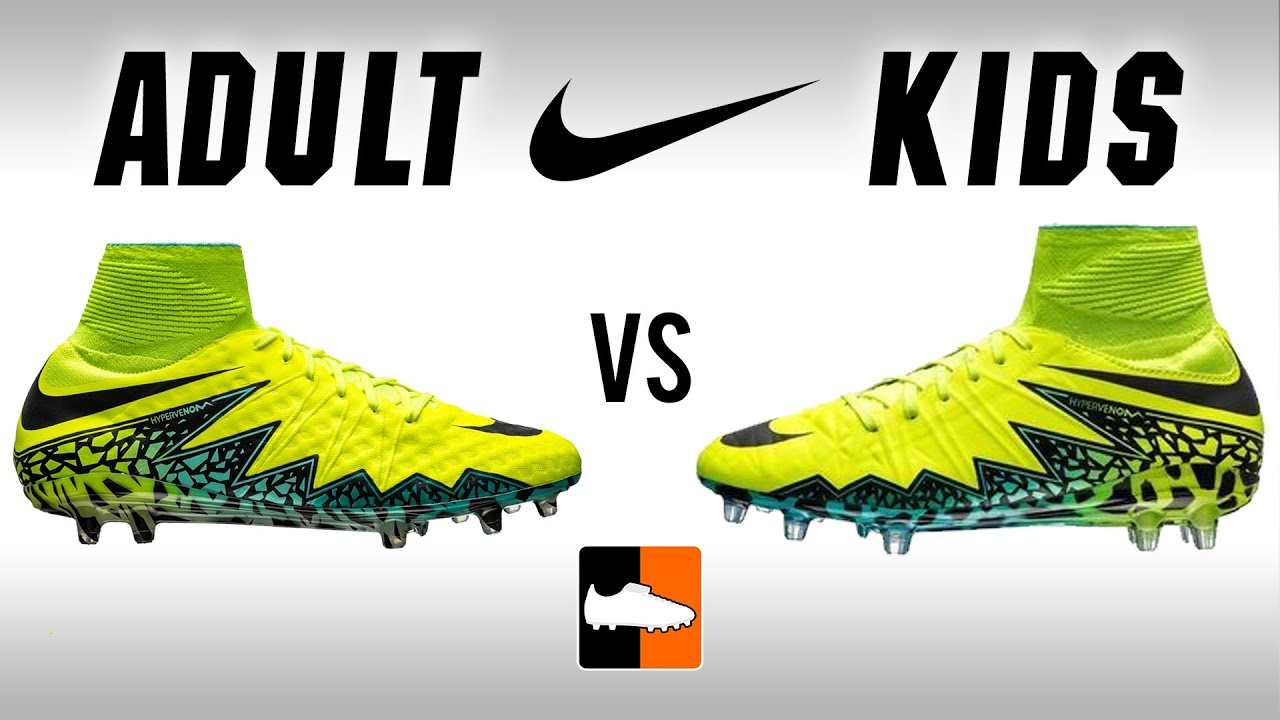 Adult v Kids Hypervenom | Nike Jnr \u0026 Children\u0027s Phantom 2 Football Boots  Comparison - YouTube
