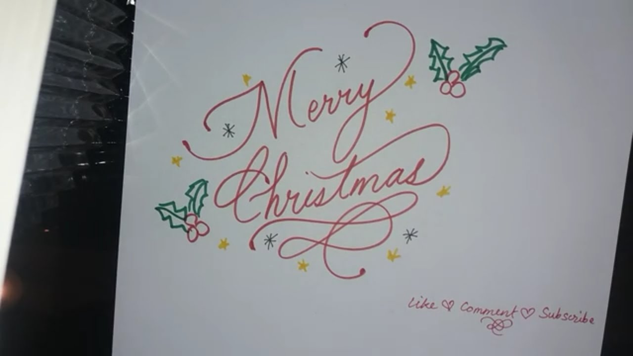 Merry Christmas Writing.Simple Way To Write A Fancy Merry Christmas