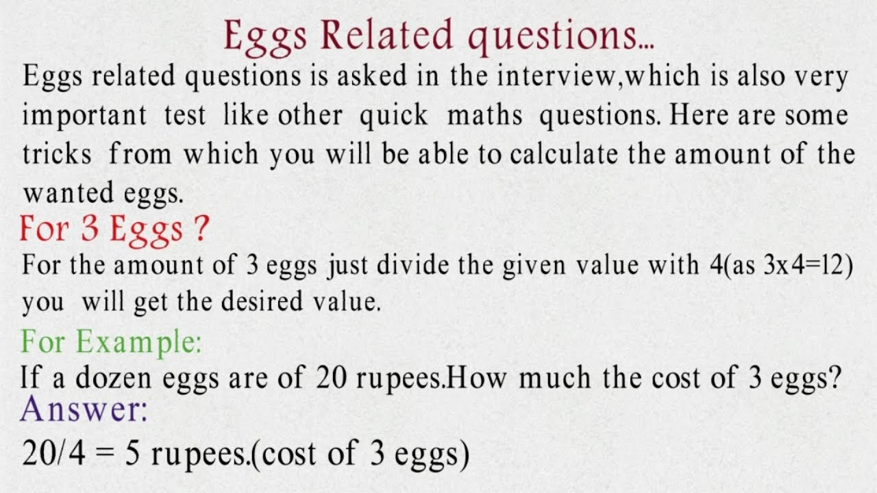 Quick Maths Questions part 3 (Eggs Questions). - YouTube
