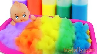Learn Colors Foam Bubble Bath Time Baby Doll Body Paint Suprise Egg Toys Baby Finger Family Song