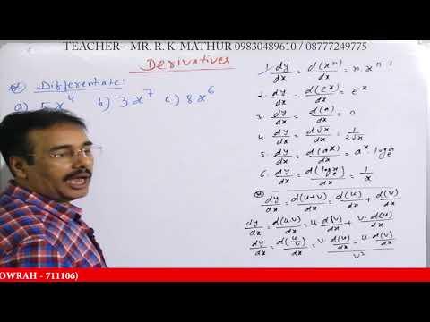 Derivatives Maths Formula With Examples Part 1 | Maths Derivatives | Calculus | Mathur Sir Classes