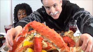 Mukbang Seafood Feast King Crab Lobster Tails Shrimp Snow Crab