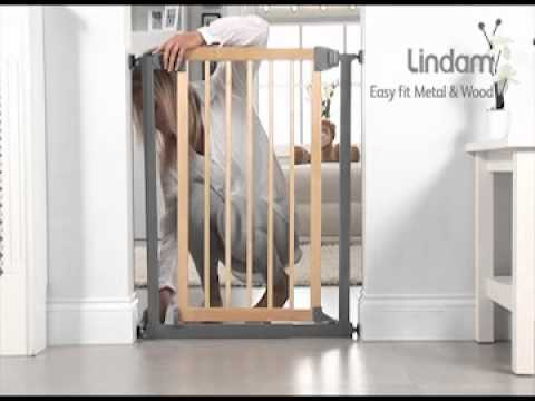 Lindam Baby Gate Easy Fit Wood And Metal Safety Gate Youtube