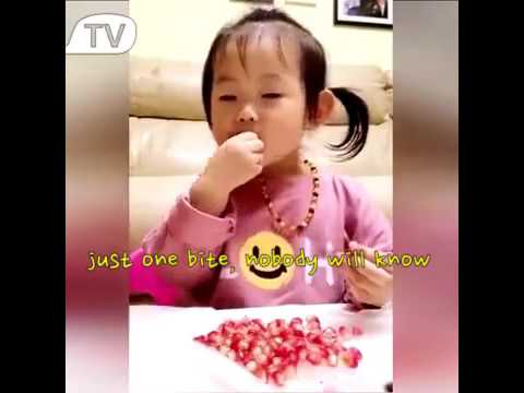 When this little girl is asked to wait for daddy to enjoy the pomegranate together...