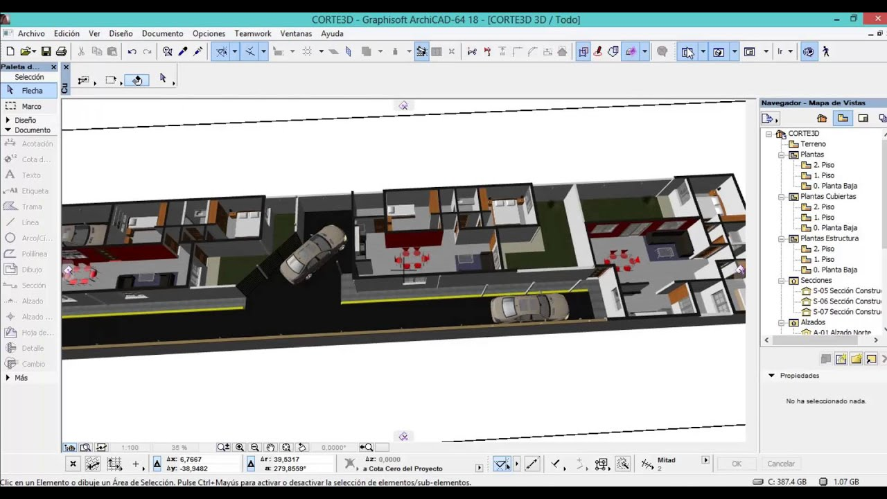 Como crear cortes 3d y planos de seccion con archicad Crear planos en 3d