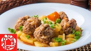 Потрясающе Вкусное горячее Блюдо! Ужин для всей семьи: Картошка с Тефтелями