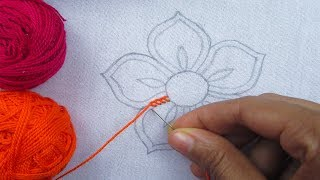 Bordado de mão – flor de ponto de botão – flor fácil bordado