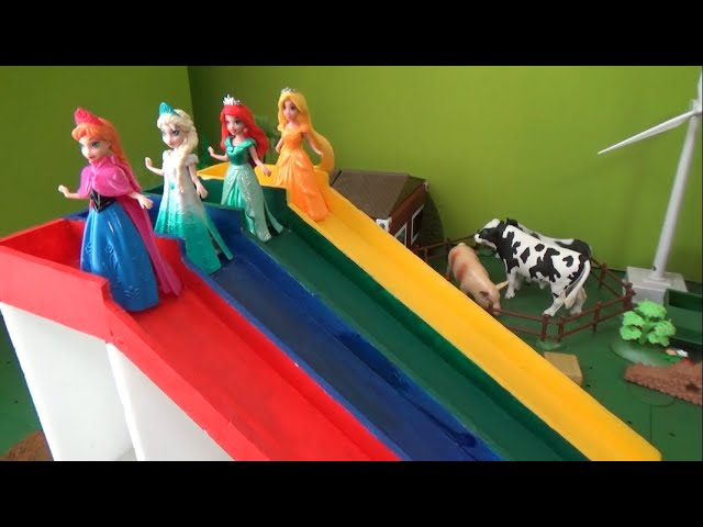 겨울왕국 엘사 디즈니 공주 컬러 미끄럼틀 장난감 놀이 Frozen Elsa Disney Princess Color Slide Toys Play