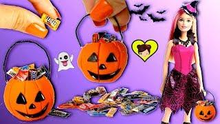 Calabaza de Halloween Miniatura con Dulces para Muñecas - Los Juguetes de Titi