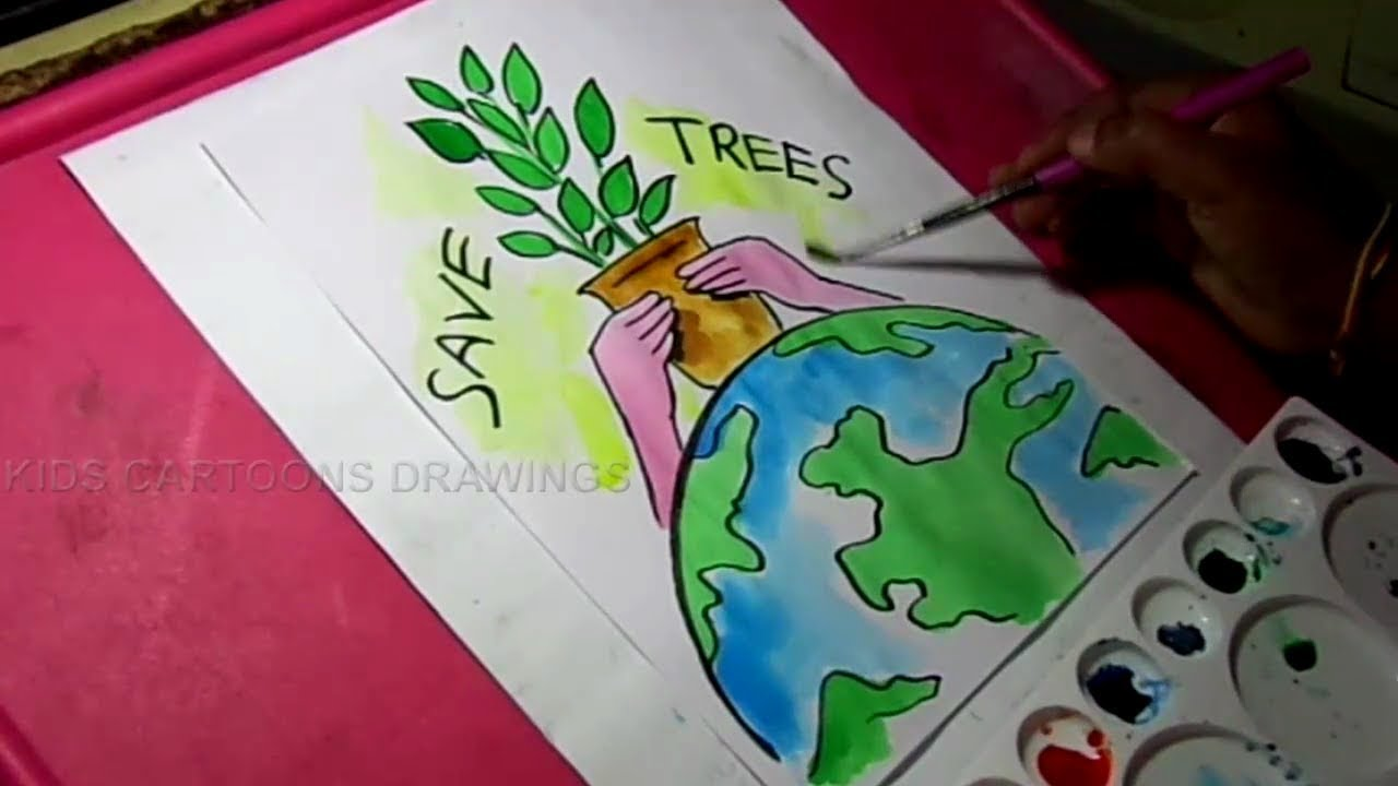 how to draw save trees and environment color drawing for kids