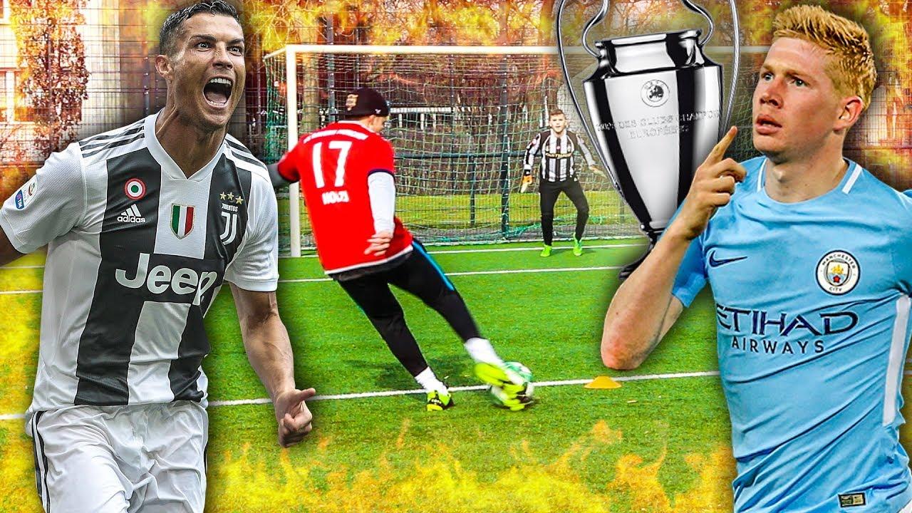 epische champions league fußball challenge  youtube