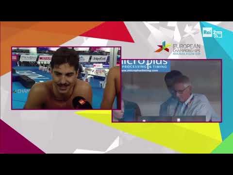 Matteo Restivo - intervista post finale 200 m dorso European Championship 2018 Glasgow