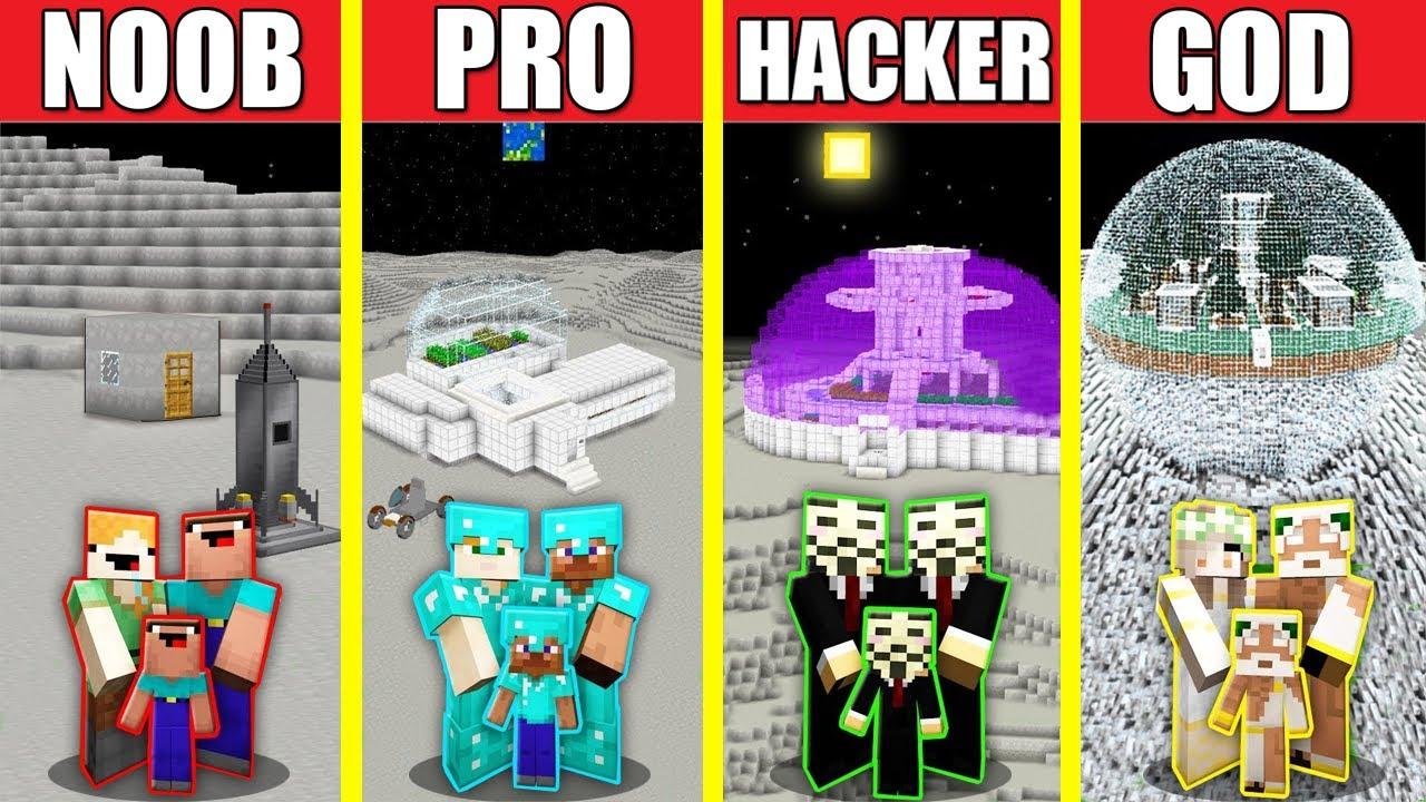 Minecraft Battle: BASE ON THE MOON HOUSE BUILD CHALLENGE - NOOB vs PRO vs HACKER vs GOD / Animation