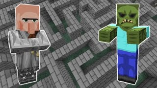 Zombie vs Villager In The Labyrinth - Minecraft Experiment