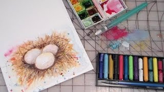 how to paint eggs nest watercolor FULL TUTORIAL