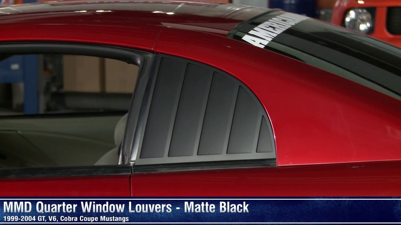 Mustang Mmd Quarter Window Louvers Matte Black 99 04 Gt