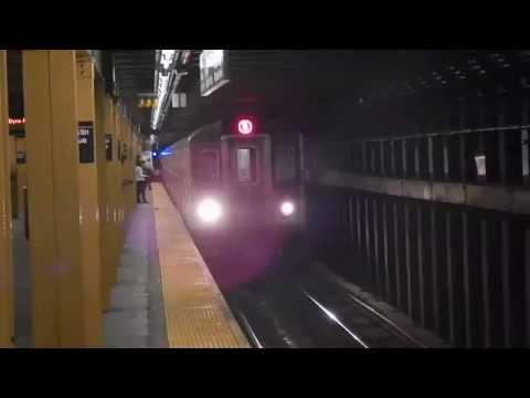Manhattan-bound R142 (5) train entering Franklin Avenue (IRT Eastern Parkway Line)