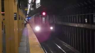 Manhattan-bound R142 (5) train entering Franklin Avenue (IRT Eastern Parkway Line)