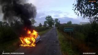 Pożar samochodu w Gniejewicach