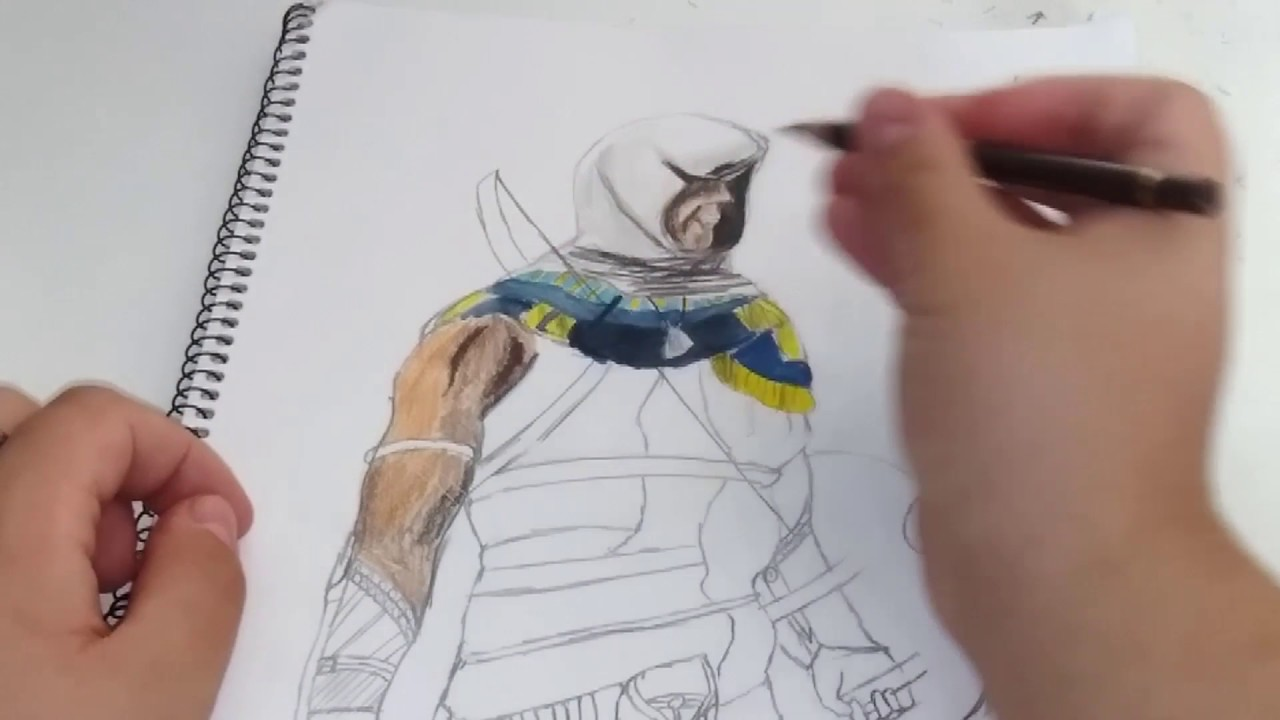 Assassins Creed Origins Bayek Speed Drawing Youtube