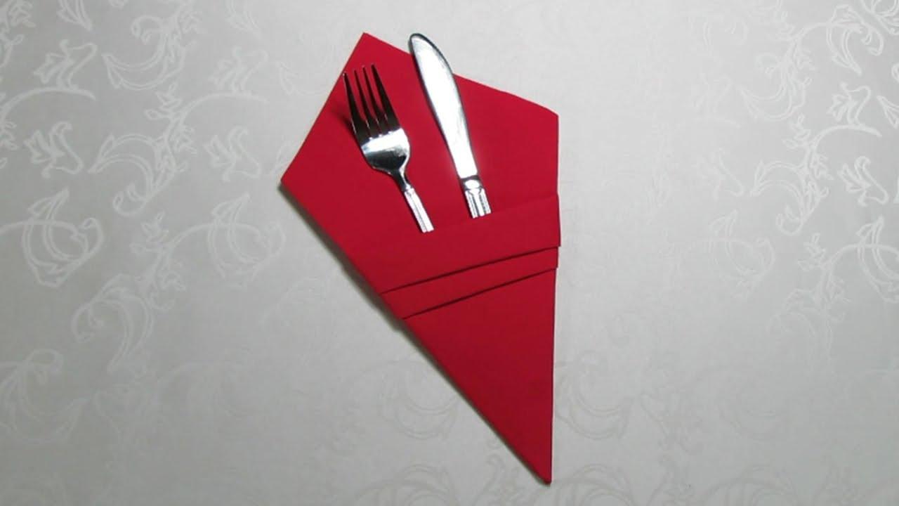 Tischdeko  Bestecktasche aus Servietten falten ganz