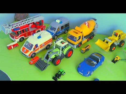 🚒 Polizeiauto, Traktor, Feuerwehrauto, Krankenwagen, Bagger, Truck & Betonmischer / Spielzeugautos