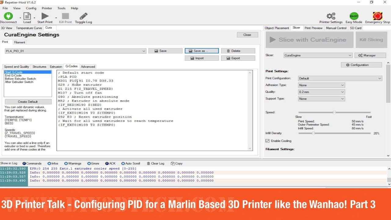 3D Printer Talk - Configuring PID for a Marlin Based 3D Printer like the  Wanhao! Part 3