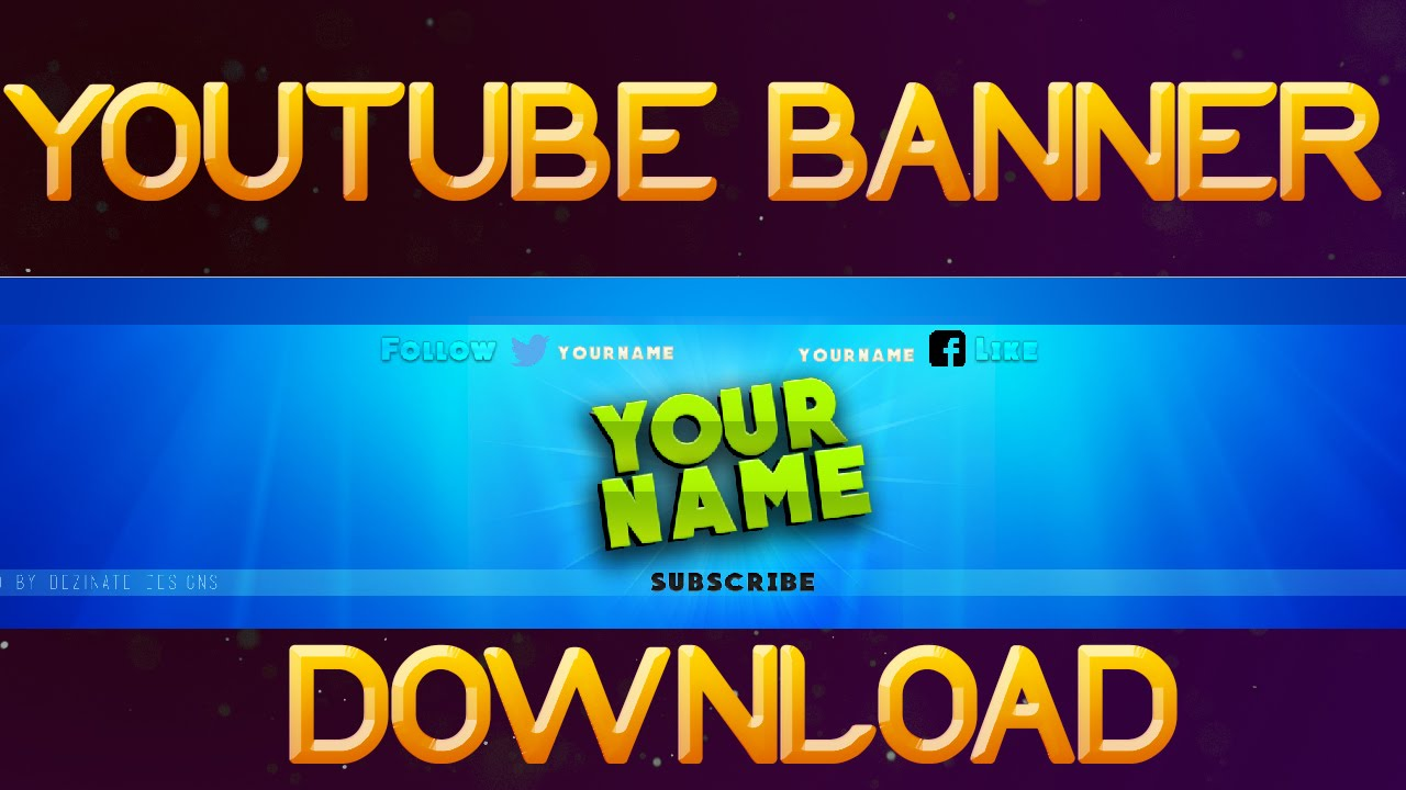 Nice youtube banner template download psd youtube - Youtube banner pictures ...