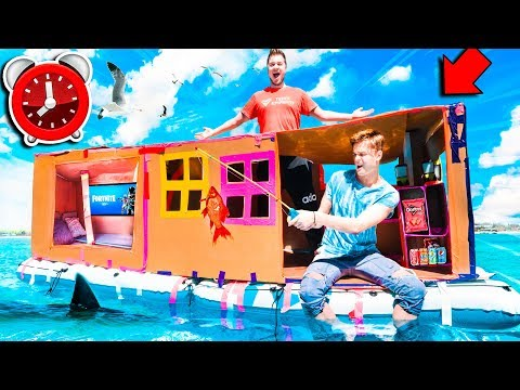 24 HOUR Overnight Billionaire FLOATING BOX FORT BOAT CHALLENGE