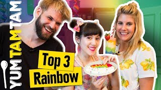 Top 3 RAINBOW-Rezepte // Rainbow-Waffel, -Smoothie- & -Sushi // #yumtamtam