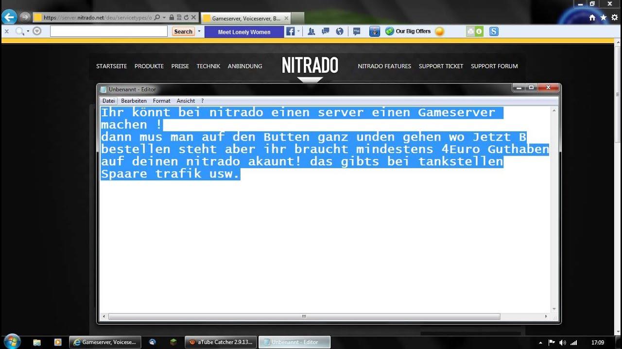 Kostenlos Anmelden Bei Nitrado Und Einen Gameserver Machen YouTube - Minecraft server erstellen nitrado kostenlos