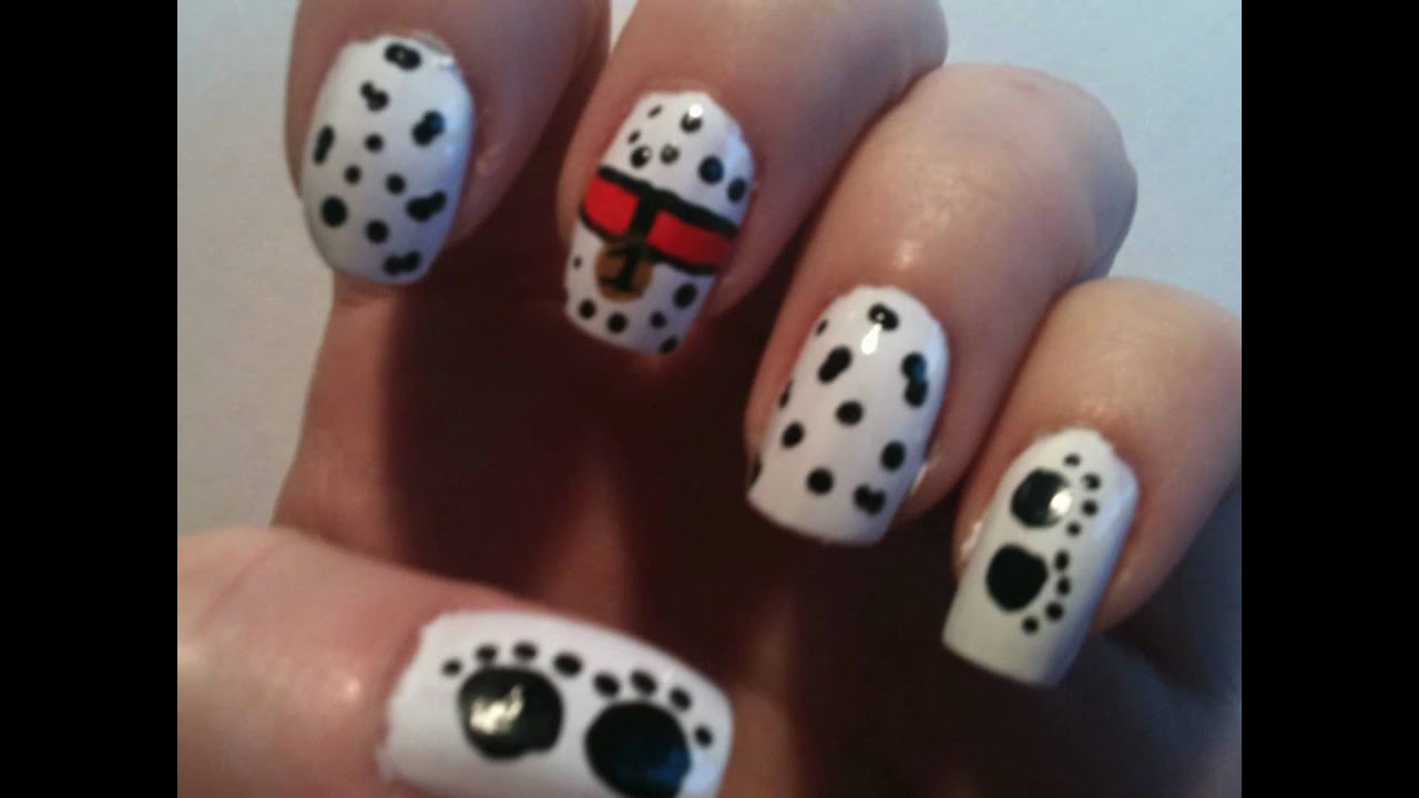 Dalmatian inspired nail art tutorial - YouTube