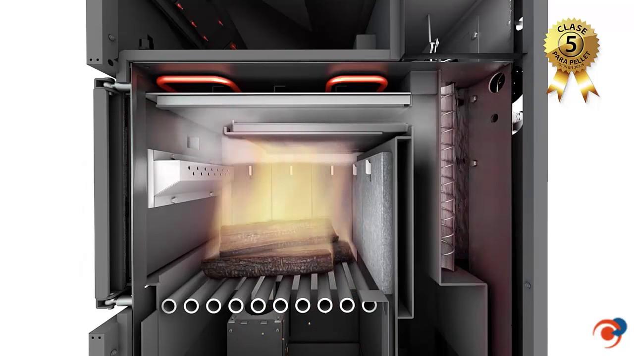 Caldera de biomasa mixta para pellets y le a dualtherm de - Youtube chimeneas lena ...