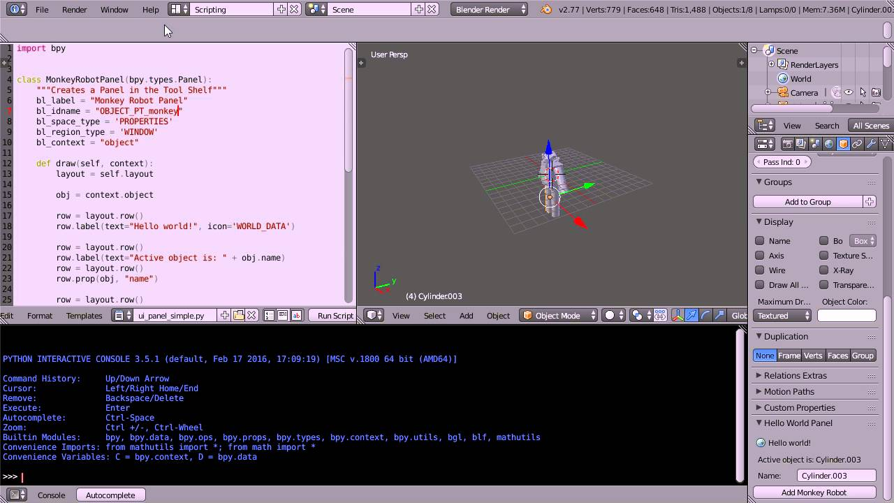 Blender Python Tutorial How To Link a Script to a Button and How To ...