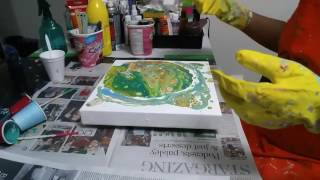 Acrylic pour on canvas BIG CELLS