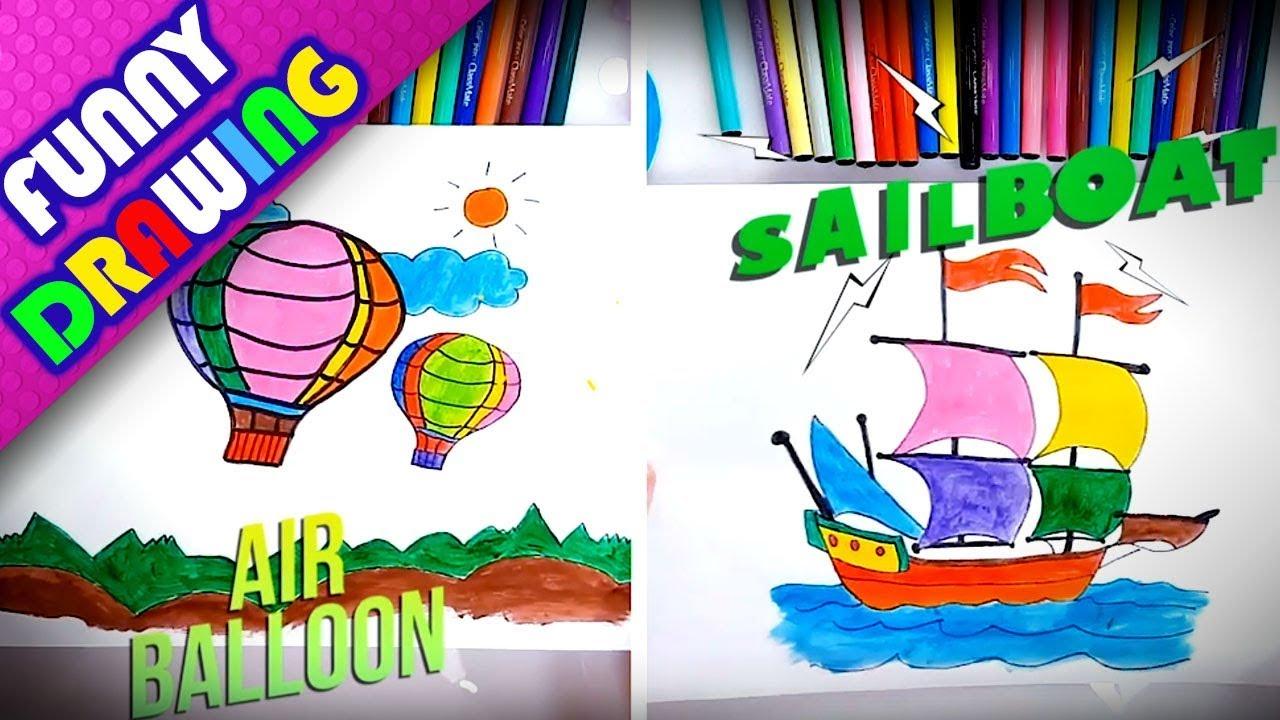 DIY - How to draw an Air balloon easy - Dạy bé vẽ và tô màu